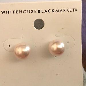 Pearl post earrings silver tone